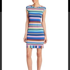 Trina Turk zina multi color striped sheath dress